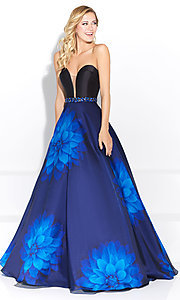 Navy Blue Long Strapless Prom Dress