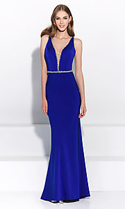 Open Back Long V-Neck Prom Dress