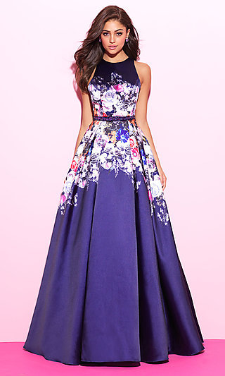 Floral-Print Navy Blue Long Prom Dress