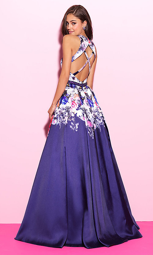 Image of floral-print navy blue long prom dress. Style: NM-17-299 Back Image
