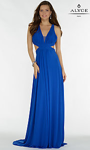 Long Side Cut Out V-Neck Prom Dress
