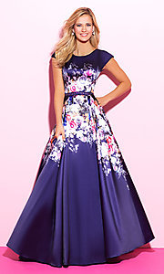 Short Sleeve Floral Print Prom Dress