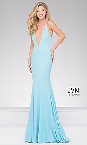 Plunging V-Neck Backless Prom Dress