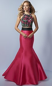 Two-Piece Embroidered Bodice Mermaid Prom Dress