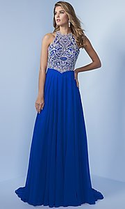 Long T-Back Prom Dress with Beaded Bodice