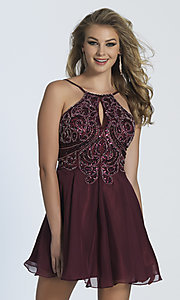 Short Dave and Johnny Dress with Beaded Bodice