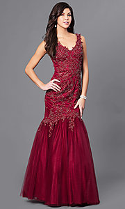 Lace-Appliqued Long V-Neck Prom Dress