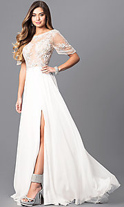 Long Short Sleeve Beaded Lace Bodice Prom Dress