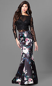 Two-Piece Long Sleeve Prom Dress