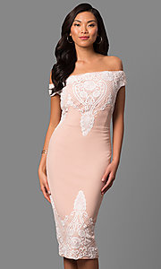 Short Off-the-Shoulder Midi Party Dress with Lace Applique
