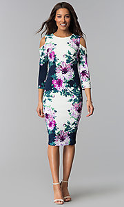 Image of short floral-print midi party dress with sleeves. Style: JX-1ZRD051M Detail Image 1