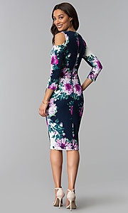 Image of short floral-print midi party dress with sleeves. Style: JX-1ZRD051M Detail Image 2