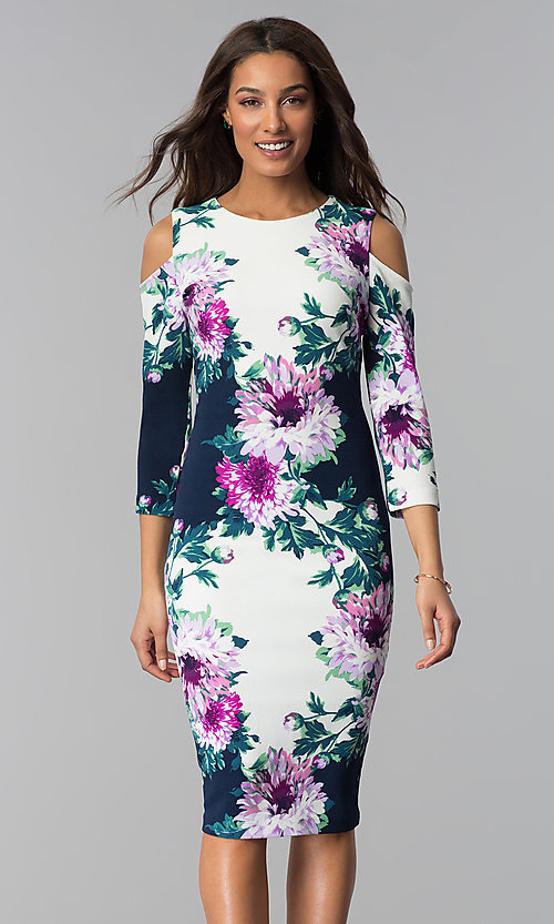 Image of short floral-print midi party dress with sleeves. Style: JX-1ZRD051M Front Image