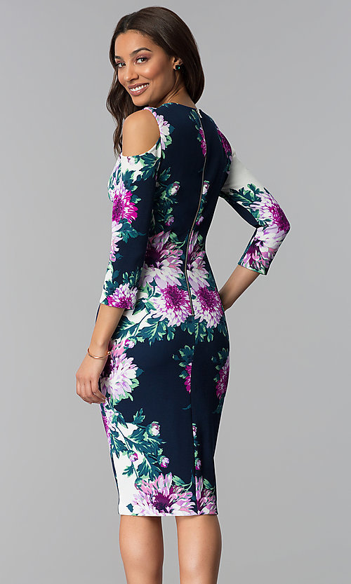 Image of short floral-print midi party dress with sleeves. Style: JX-1ZRD051M Back Image