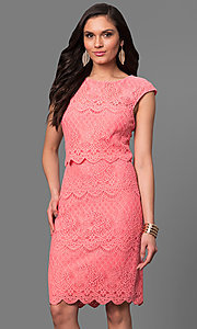 Lace Knee Length Party Dress with Cap Sleeves