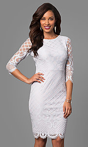 Powder Blue Short Lace Party Dress with Sleeves