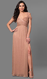Long Ruched Cold Shoulder Sweetheart Prom Dress