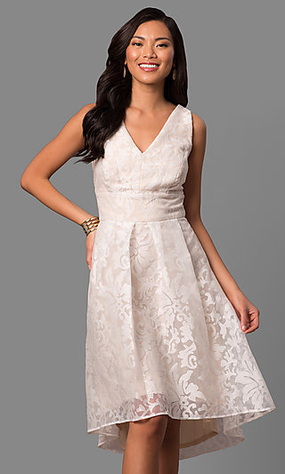 Short Knee-Length Ivory Chiffon Graduation Dress