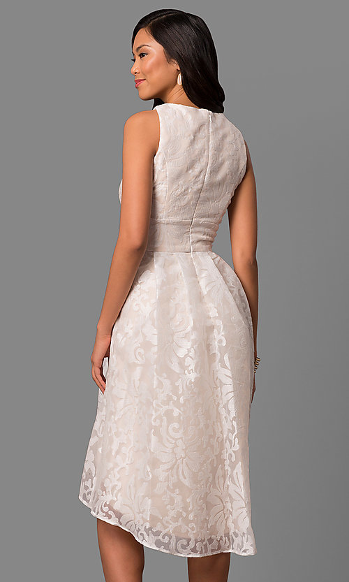 Image of short knee-length ivory chiffon graduation dress. Style: SG-SBCA668 Back Image