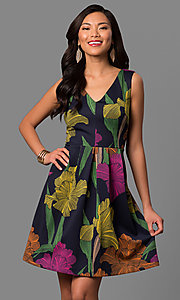 Short A-Line Print V-Neck Party Dress