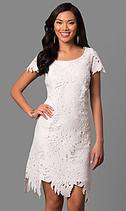 Short Ivory Lace Graduation Dress with Short Sleeves