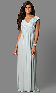 Long Ruched V-Neck Prom Dress with Empire Waistline