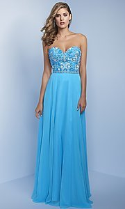 Long Prom Dress with Beaded Strapless Bodice