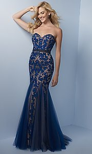 Long Strapless Sweetheart Prom Dress with Godets