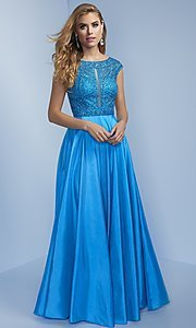 Long Beaded Bodice Prom Dress with Open Back