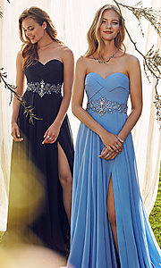 Chiffon Long Strapless Alyce Prom Dress