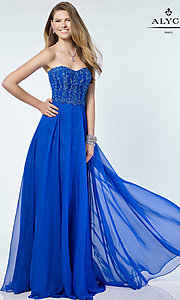 Long Strapless Prom Dress with a Beaded Bodice