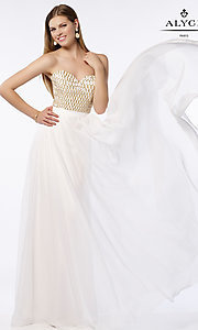 Alyce Strapless Prom Dress with a Beaded Bodice