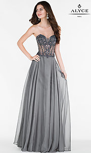 Sheer Waist Open Back Chiffon Prom Dress
