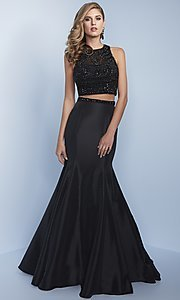 Long Two-Piece Prom Dress with Embellished Top