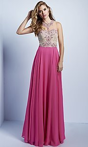 Beaded Illusion Bodice Long Prom Dress