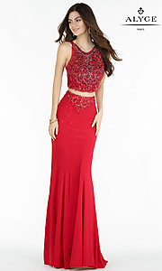 Two Piece High Neck Long Jersey Prom Dress