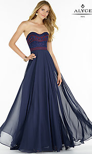 Embroidered Chiffon Strapless Long Prom Dress