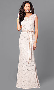 Image of long sequin-lace formal dress with bow. Style: SF-8834-v Detail Image 2