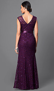 Image of long sequin-lace formal dress with bow. Style: SF-8834-v Back Image