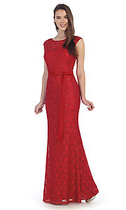 Image of long sequin-lace formal dress with bow. Style: SF-8834-v Detail Image 3