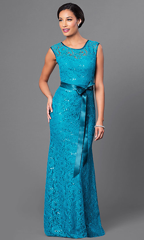 Image of long sequin-lace formal dress with bow. Style: SF-8834-v Detail Image 1