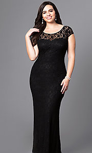 Image of long plus-size lace prom dress with sleeves. Style: DQ-8768P Front Image