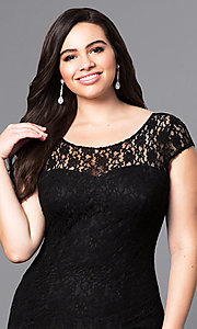 Image of long plus-size lace prom dress with sleeves. Style: DQ-8768P Detail Image 1