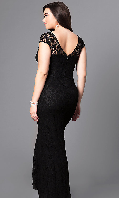 Image of long plus-size lace prom dress with sleeves. Style: DQ-8768P Back Image