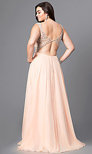 Image of cap-sleeved plus-size prom dress with open back. Style: DQ-8972P Back Image