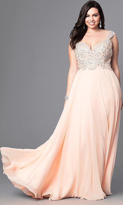 Image of cap-sleeved plus-size prom dress with open back. Style: DQ-8972P Front Image