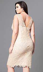 Image of open-lace plus-size party dress in knee-length Style: DQ-8842P Back Image