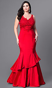 Image of plus-size long prom dress with tiered mermaid skirt. Style: DQ-9457P Front Image