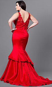 Image of plus-size long prom dress with tiered mermaid skirt. Style: DQ-9457P Back Image