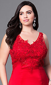 Image of plus-size long prom dress with tiered mermaid skirt. Style: DQ-9457P Detail Image 1